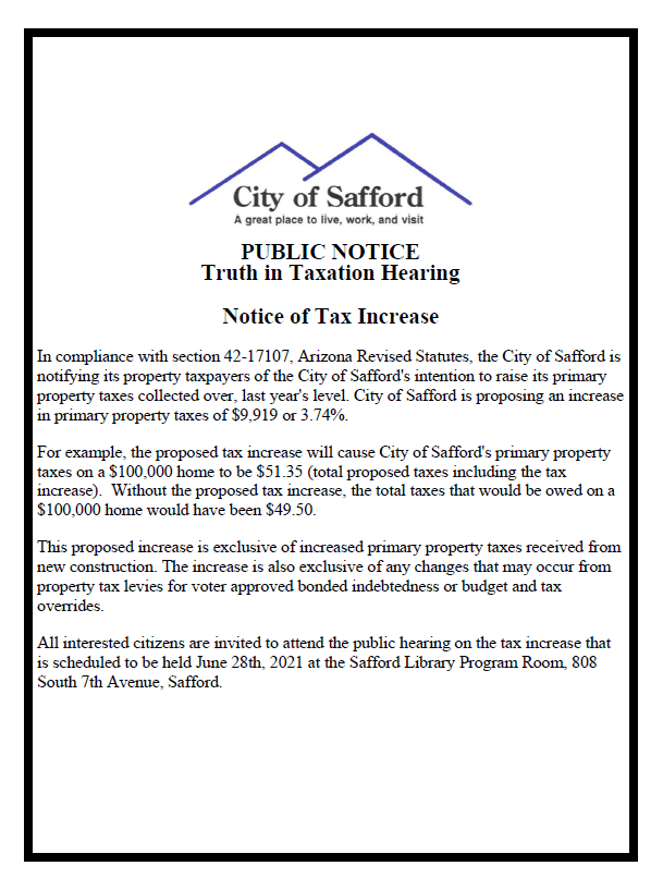 TRUTH IN TAXATION NOTICE 2021